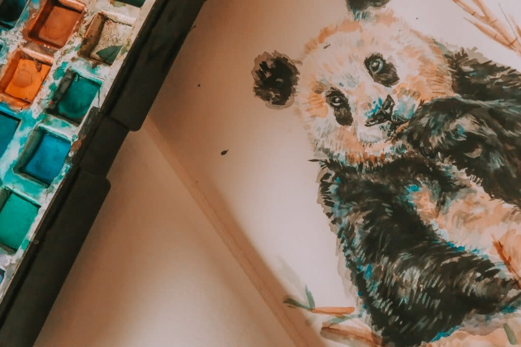 Step 9: Erase pencil drawing | How to Watercolour: the Panda Art Print | Pigments by Liv