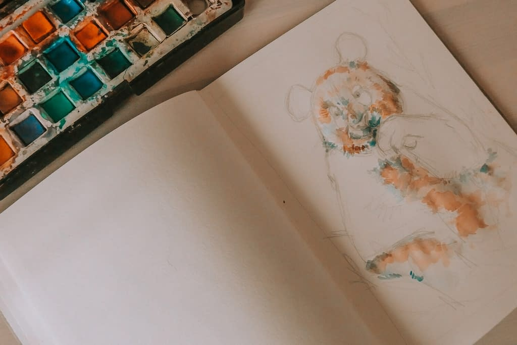 Step 3: look for colours in the lighter areas | How to Watercolour: the Panda Art Print | Pigments by Liv