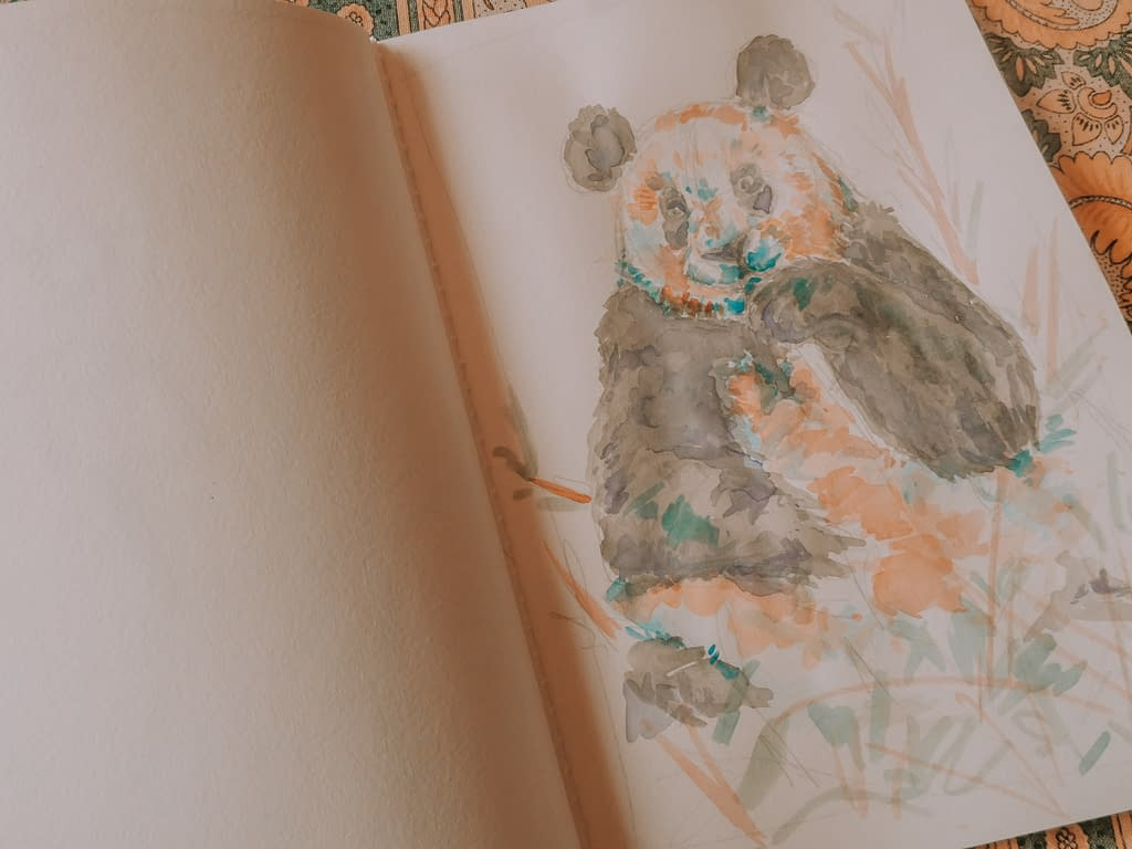 Step 5: Add unusual colours to shadows How to Watercolour: the Panda Art Print | Pigments by Liv