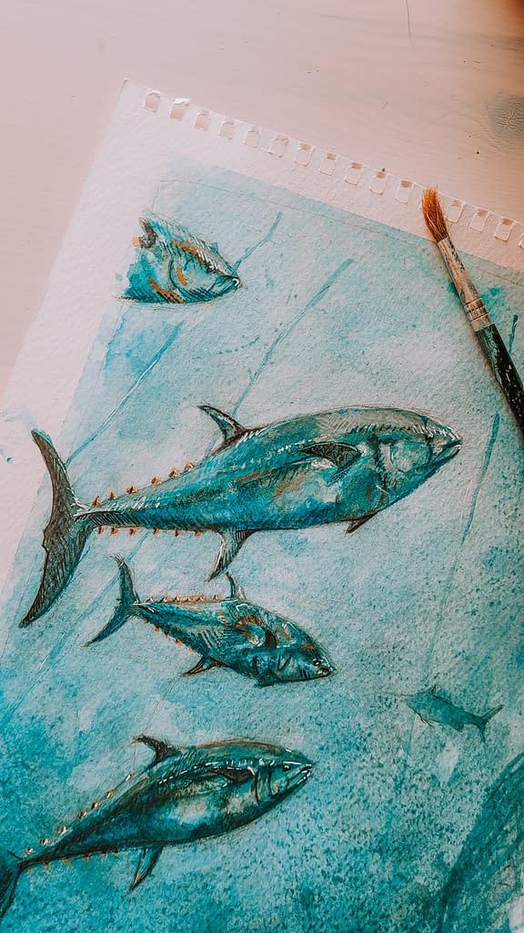 Bluefin Tuna Art Print   Pigments by Liv