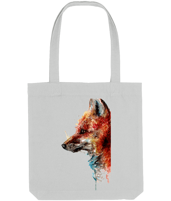 Grey Recycled Fox Tote Bag   Pigments by Liv
