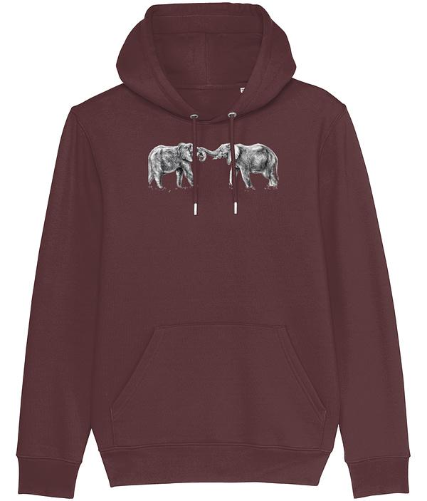 Burgundy Elephant Hoodie | Pigments by Liv