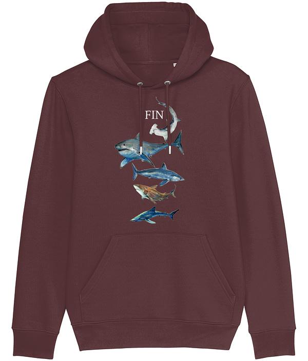 Burgundy Shark Hoodie | Pigments by Liv