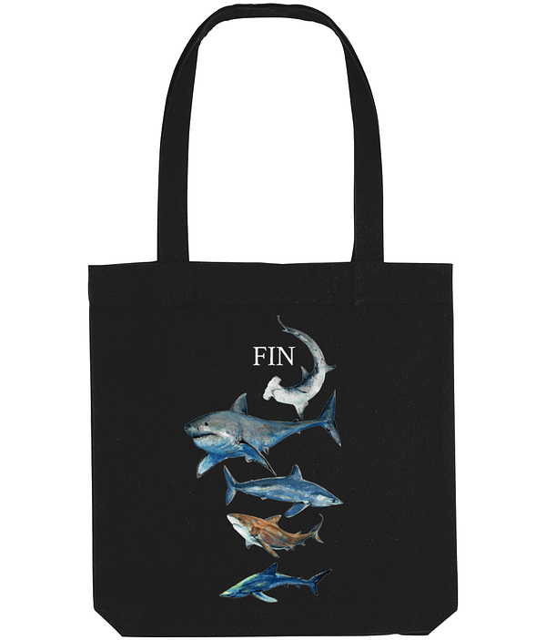Black Recycled Shark Tote Bag | Pigments by Liv