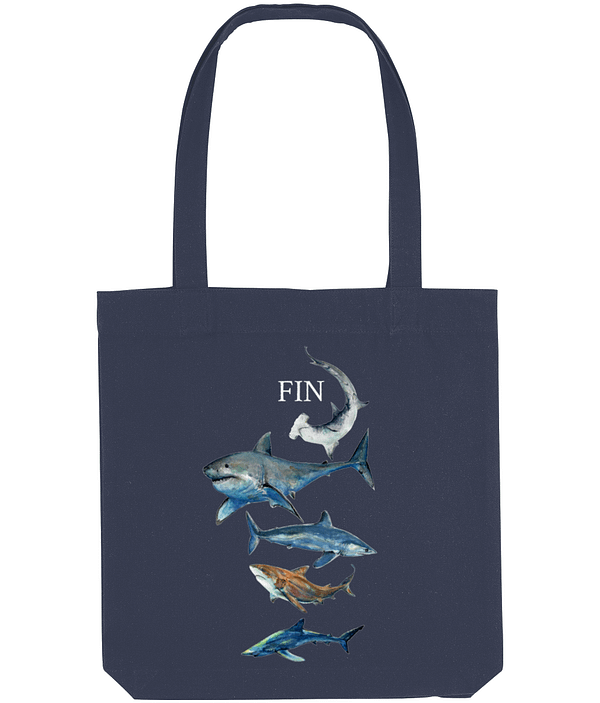 Blue Recycled Shark Tote Bag | Pigments by Liv