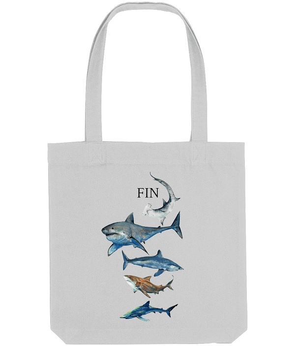 Grey Recycled Shark Tote Bag | Pigments by Liv