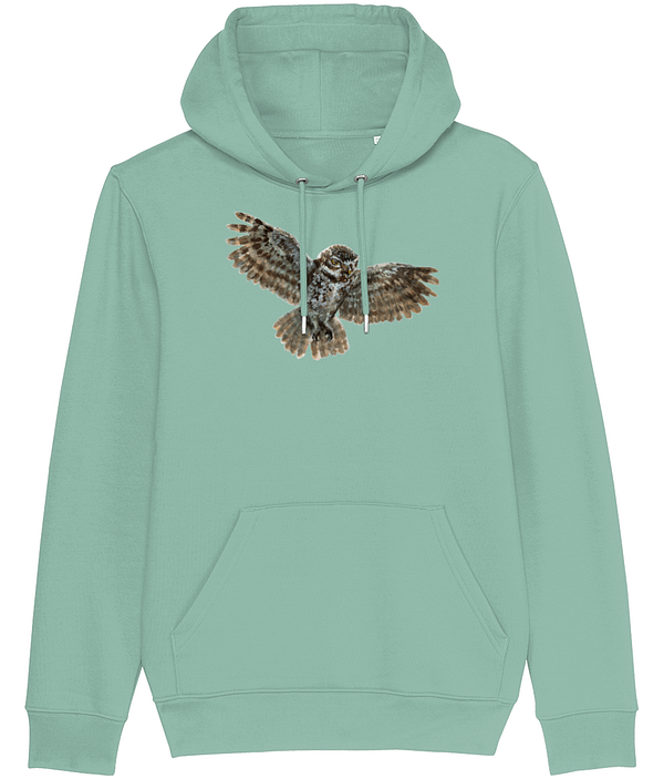 Heather Grey Green Owl Hoodie | Pigments by Liv