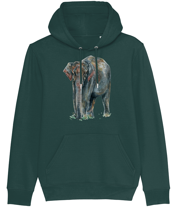 Glazed green Asian Elephant Hoodie | Pigments by Liv