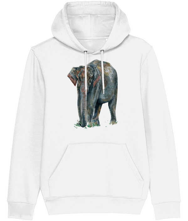White Asian Elephant Hoodie | Pigments by Liv