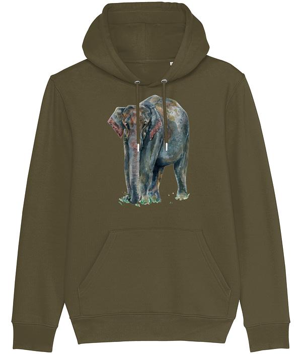 British Khaki Asian Elephant Hoodie | Pigments by Liv