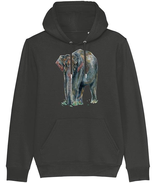 Dark Heather Grey Asian Elephant Hoodie | Pigments by Liv