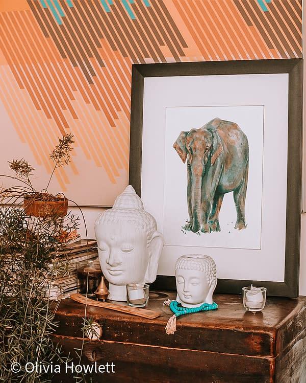 Asian Elephant Art Print   Pigments by Liv