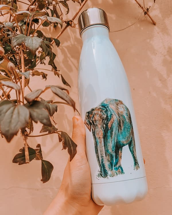 Asian Elephant Water Bottle | Pigments by Liv