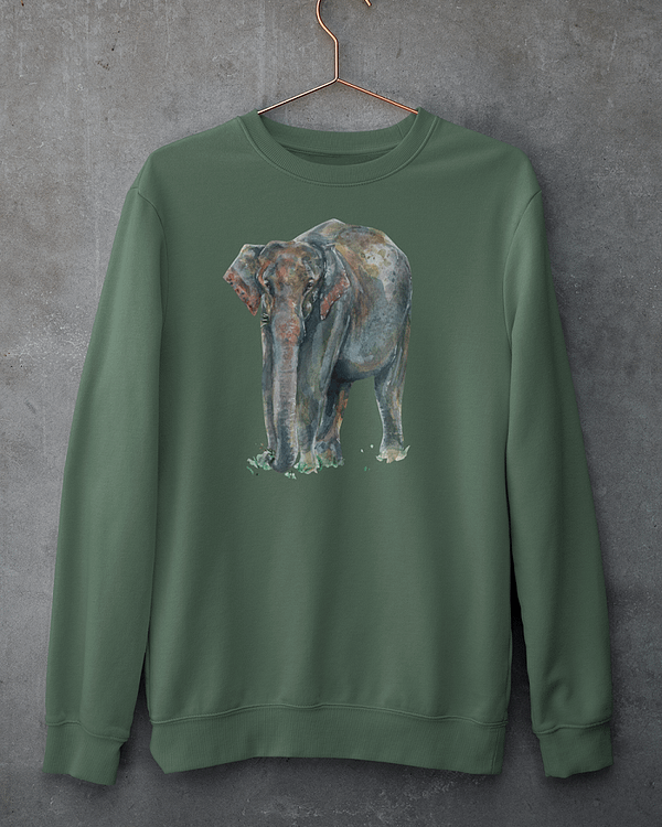Bottle Green Asian Elephant Sweatshirt | Pigments by Liv