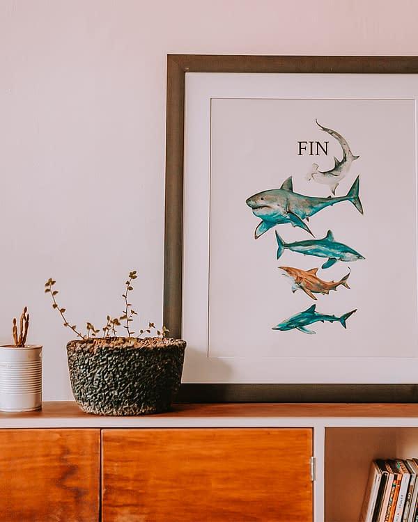Shark Animal Art Print   Pigments by Liv