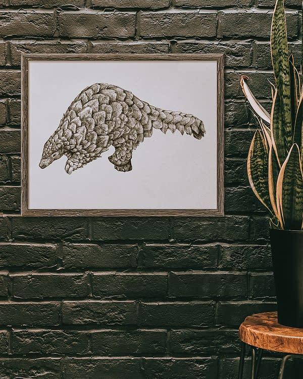 Pangolin Animal Art Print   Pigments by Liv