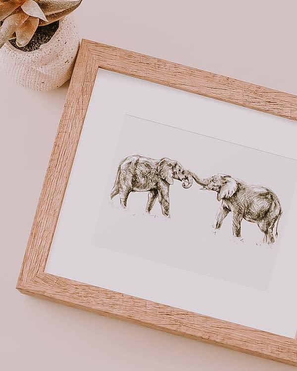 Elephant Animal Art Print | Pigments by Liv