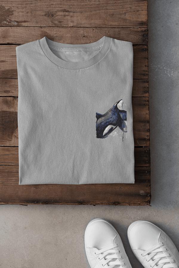 Melange grey pocket-sized orca t-shirt