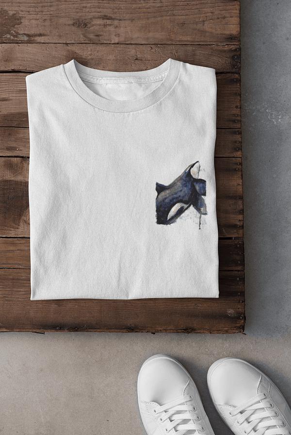 White pocket-sized orca t-shirt