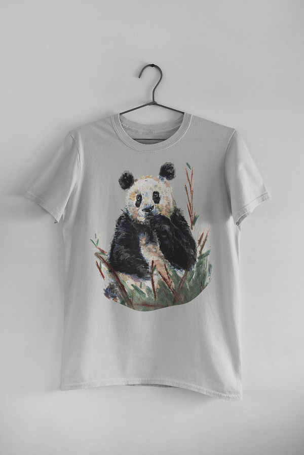 Light Grey Panda T-Shirt | Pigments by Liv