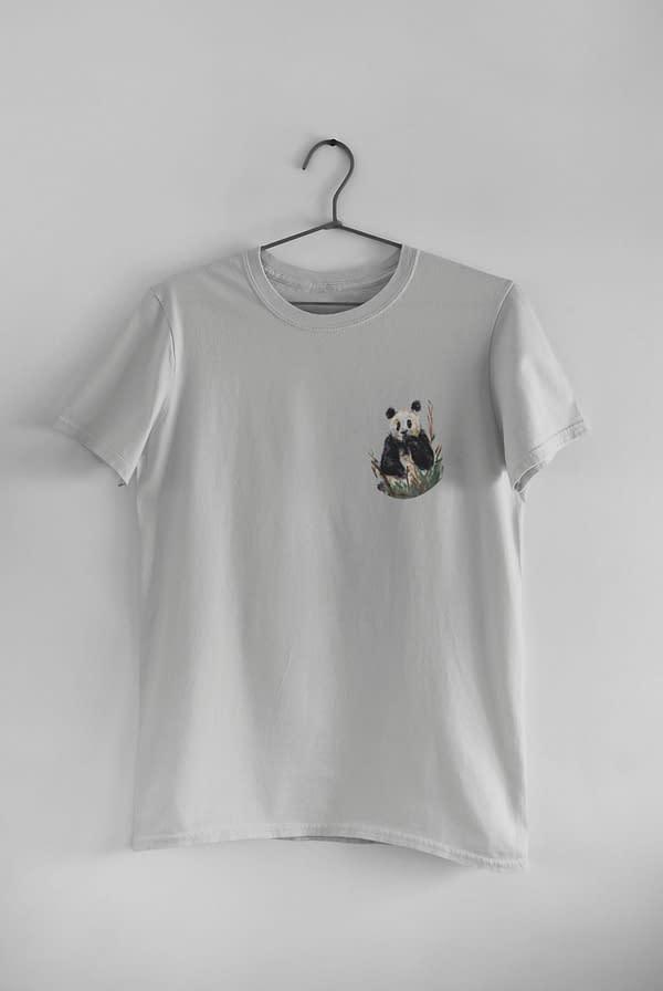 Light Grey Pocket Panda Tee   Pigments by Liv
