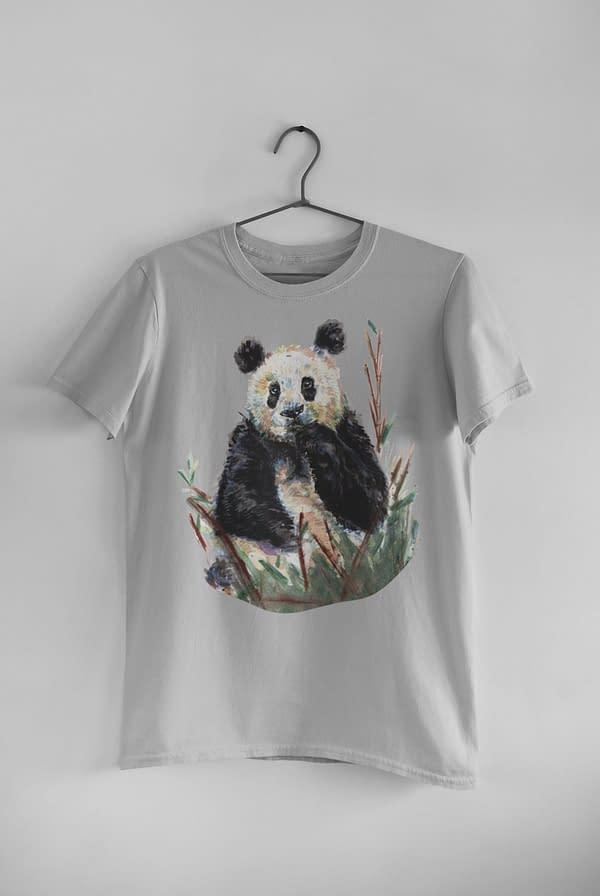 Melange Grey Panda T-Shirt | Pigments by Liv