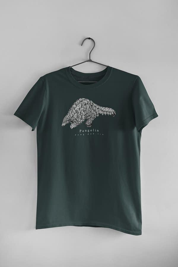 Bottle Green Pangolin T-Shirt | Pigments by Liv