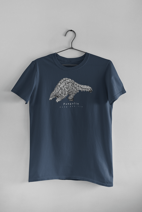 Denim Blue Pangolin T-Shirt | Pigments by Liv