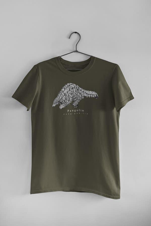 Moss Green Pangolin T-Shirt | Pigments by Liv