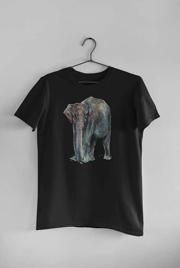 Black Asian Elephant T-Shirt   Pigments by Liv