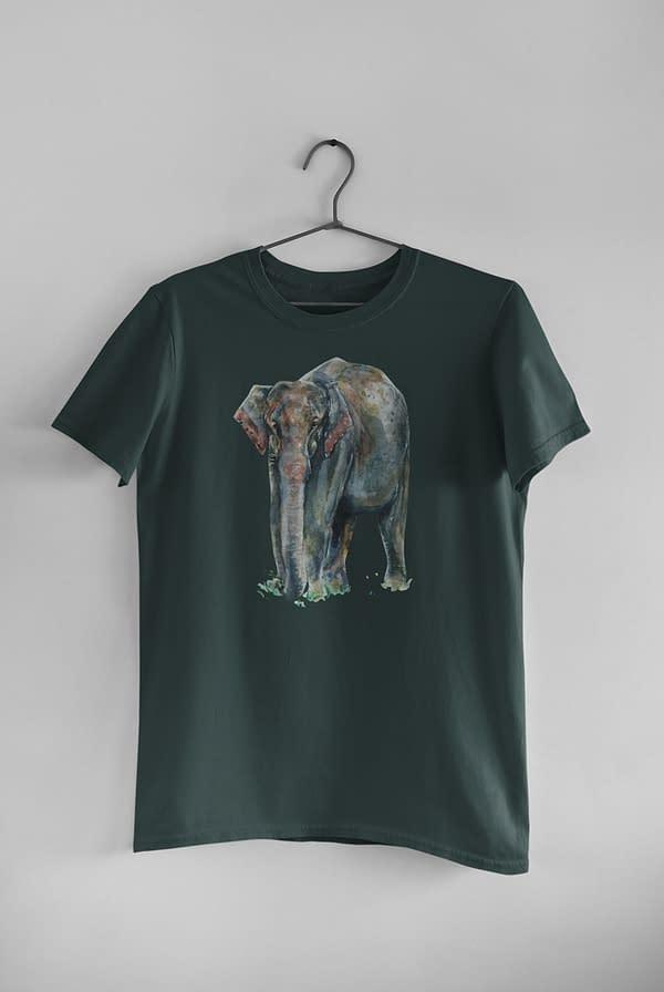 Bottle Green Asian Elephant T-Shirt   Pigments by Liv