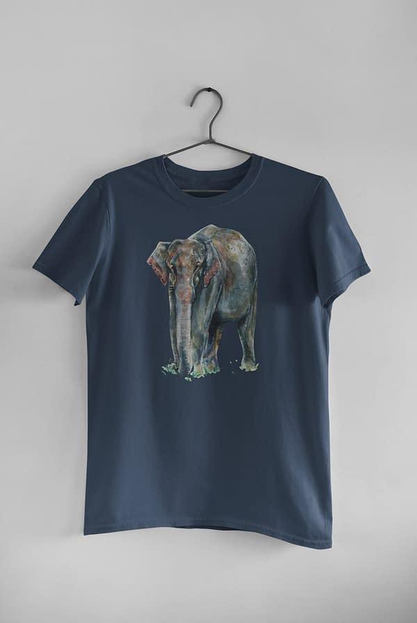 Denim Blue Asian Elephant T-Shirt   Pigments by Liv
