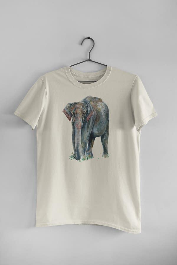 Ecru Asian Elephant T-Shirt   Pigments by Liv
