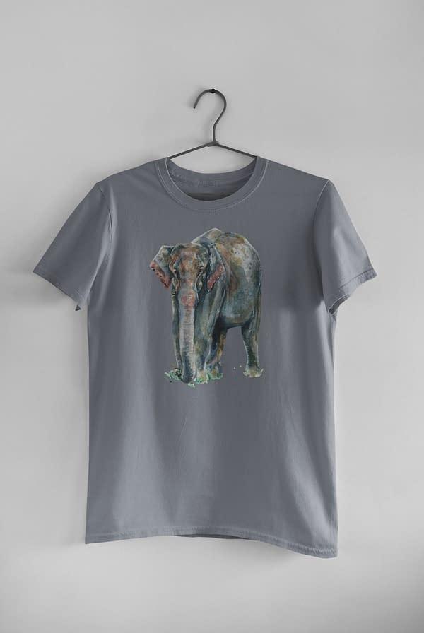 Light Charcoal Asian Elephant T-Shirt   Pigments by Liv