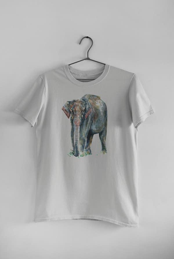 Light Grey Asian Elephant T-Shirt   Pigments by Liv