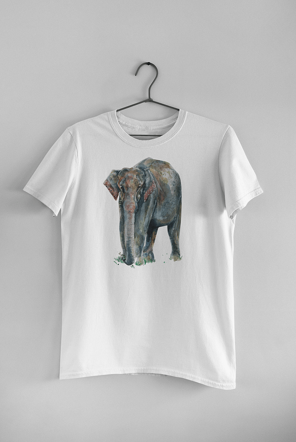 White Asian Elephant T-Shirt   Pigments by Liv