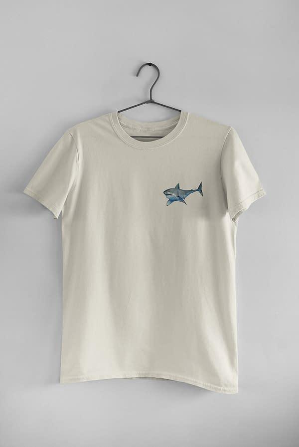 Ecru Great White Shark T-Shirt   Pigments by Liv
