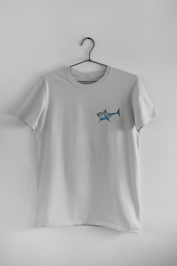 Light Grey Great White Shark T-Shirt   Pigments by Liv
