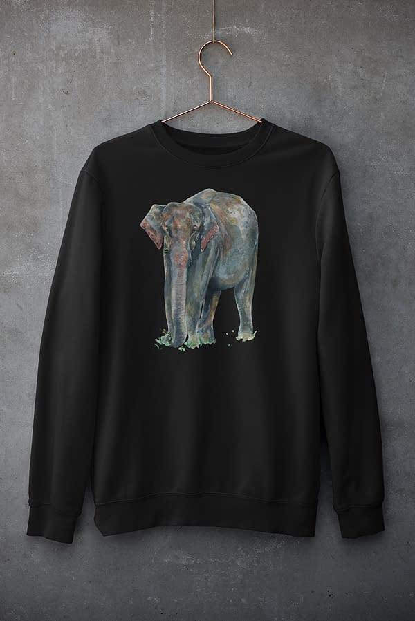 Black Asian Elephant Sweatshirt | Pigments by Liv
