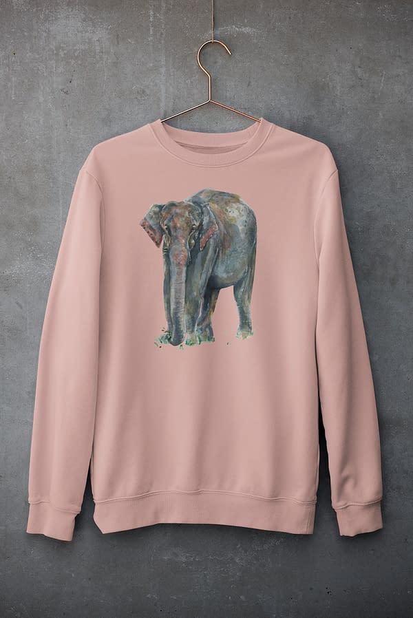 Canyon Pink Asian Elephant Sweatshirt | Pigments by Liv