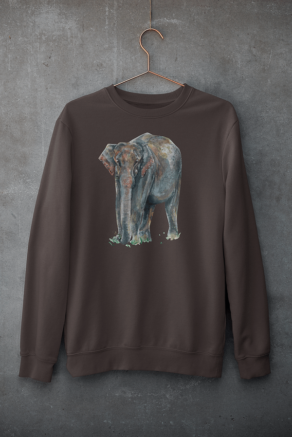 Deep Chocolate Asian Elephant Sweatshirt | Pigments by Liv