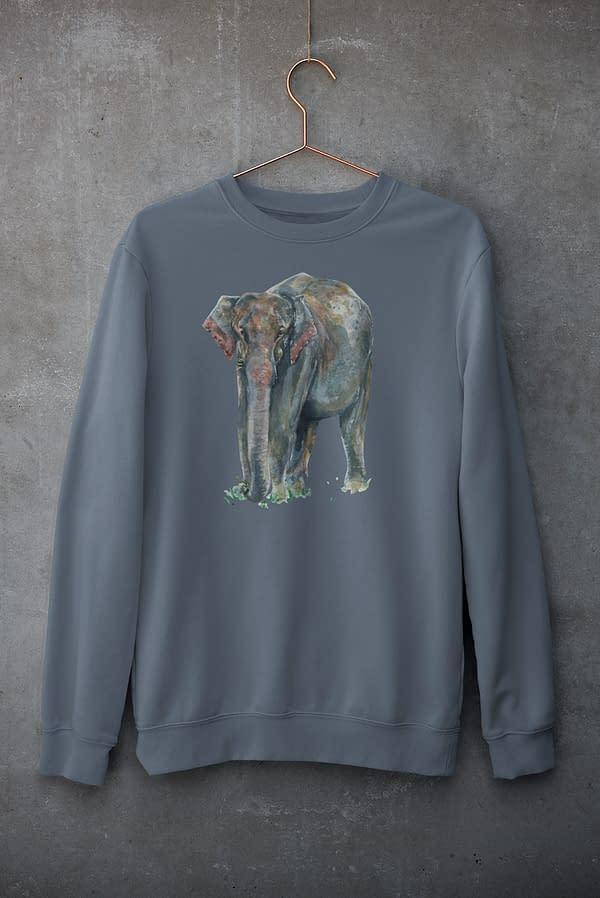 India Ink Grey Asian Elephant Sweatshirt | Pigments by Liv