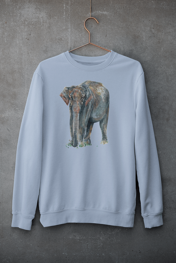 Sky Blue Asian Elephant Sweatshirt | Pigments by Liv