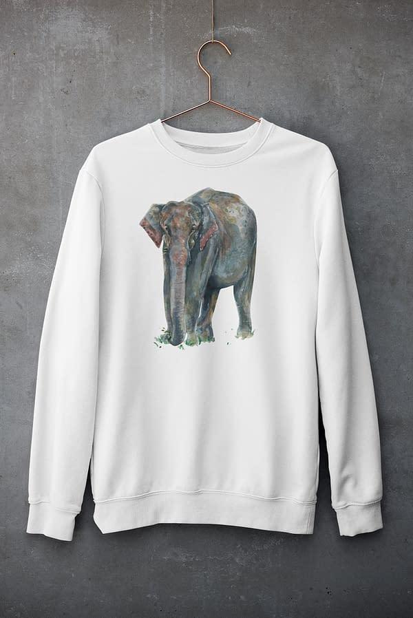 White Asian Elephant Sweatshirt | Pigments by Liv