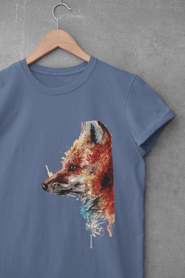 Faded denim fox t-shirt