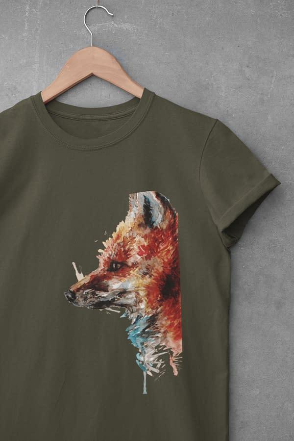 Moss green fox t-shirt