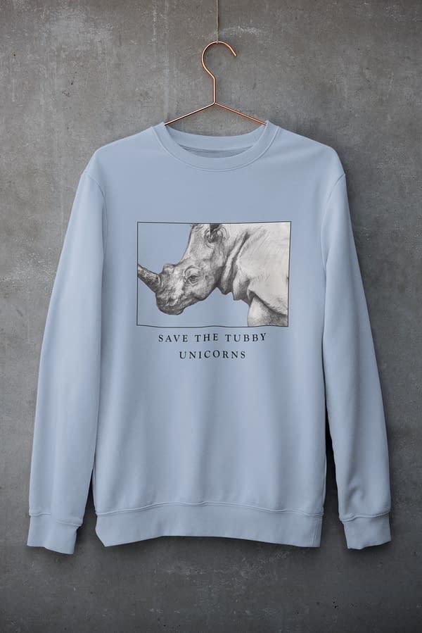 Rhino Sky Blue Sweatshirt | Save the Tubby Unicorns | Pigments by Liv