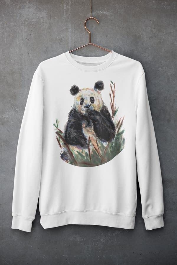 White Panda Sweatshirt   Pigments by Liv