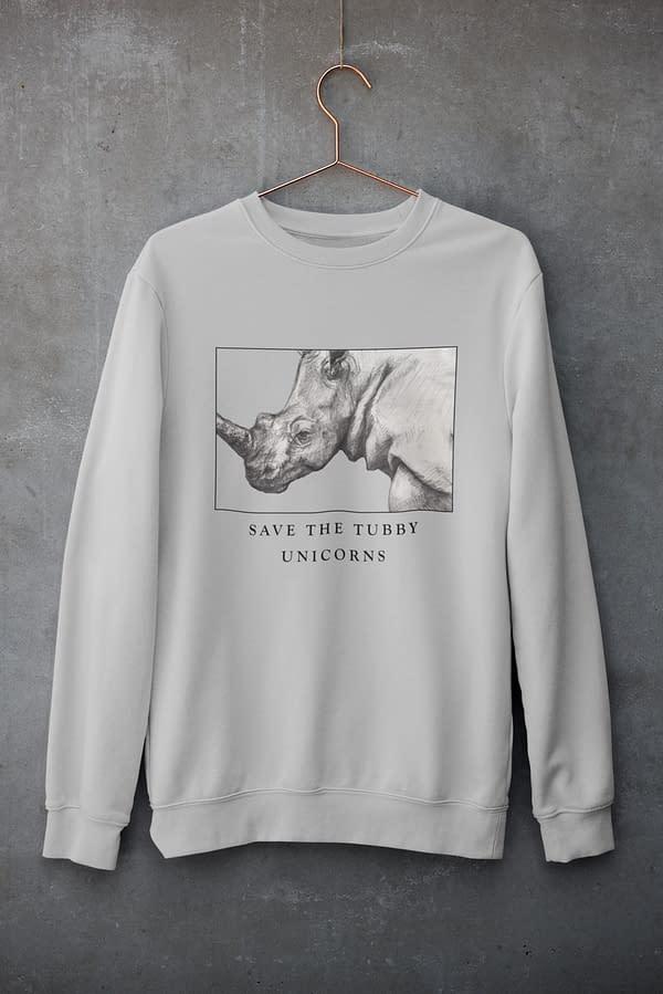 Heather Grey Save the Tubby Unicorns Rhino Sweatshirt | Pigments by Liv