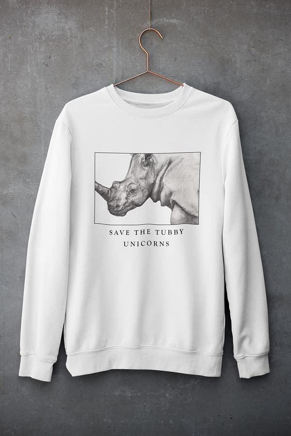 White Save the Tubby Unicorns Rhino Sweatshirt | Pigments by Liv
